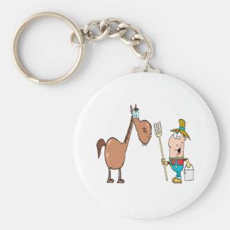 granjero divertido con el caballo llavero redondo tipo pin