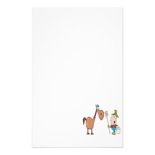 granjero divertido con el caballo papeleria personalizada