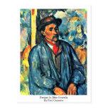 Granjero en guardapolvos azules de Paul Cezanne Tarjeta Postal