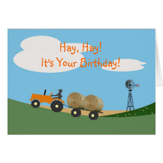 Granjero en tarjeta de cumpleaños del tractor