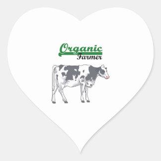 Granjero orgánico pegatina corazón
