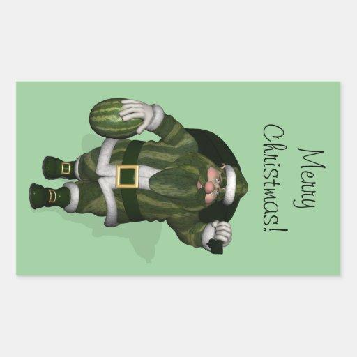 Granjero Papá Noel de la sandía Pegatina Rectangular