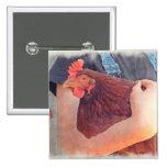 Granjero que abraza estilo pintado pollo