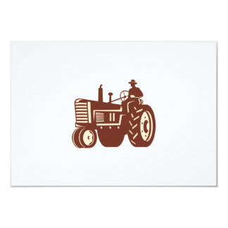 """Granjero que conduce el tractor del vintage retro invitación 3.5"""" x 5"""""""