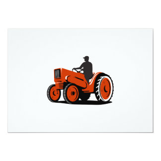 """Granjero que conduce el tractor del vintage retro invitación 5"""" x 7"""""""