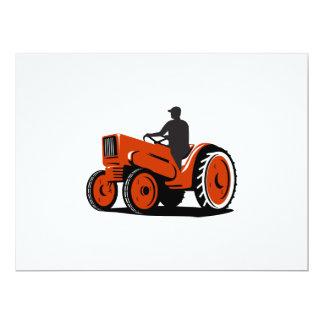 """Granjero que conduce el tractor del vintage retro invitación 6.5"""" x 8.75"""""""