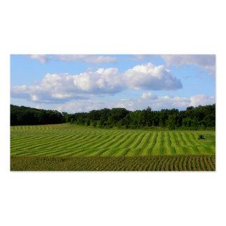 Granjero rayado de la tierra del campo de granja q tarjetas de visita