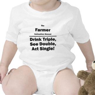Granjero triple de la bebida traje de bebé