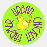 Granjero urbano del pollo etiqueta redonda