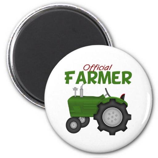 Granjero verde del tractor imán redondo 5 cm