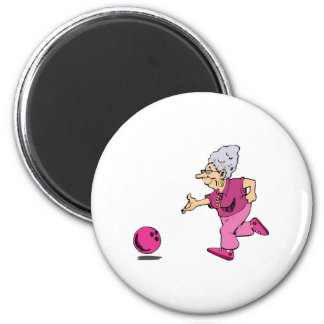 Grannies bowling league 2 inch round magnet