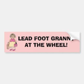 GRANNY AT THE WHEEL! Bumper Sticker Car Bumper Sticker
