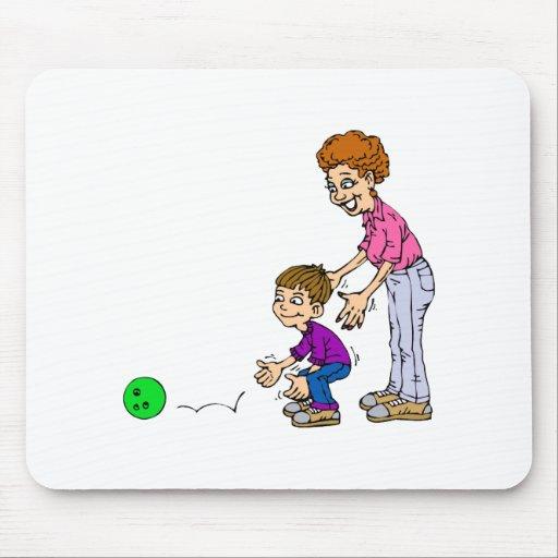 Granny & Boy Bowling Mouse Pad