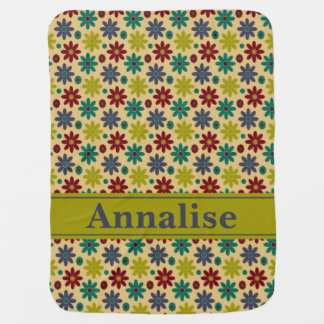 Granny Flowers and Polka Dots Personalized Receiving Blanket