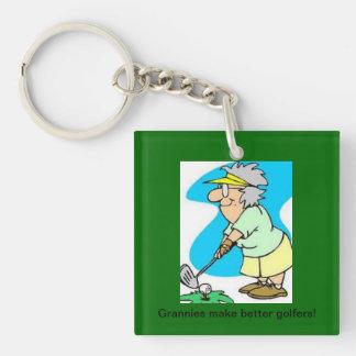 granny golfer key chain