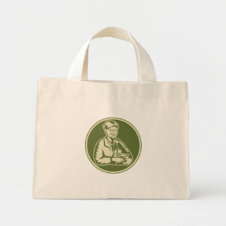 Granny Grandmother Cooking Mixing Bowl Canvas Bags
