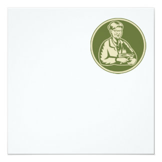 Granny Grandmother Cooking Mixing Bowl 5.25x5.25 Square Paper Invitation Card