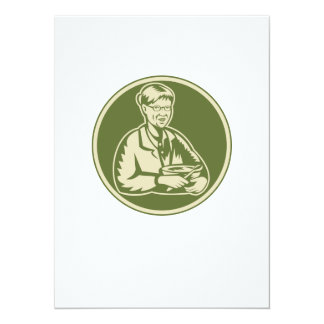 Granny Grandmother Cooking Mixing Bowl 5.5x7.5 Paper Invitation Card