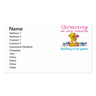 Granny Is My Name, Spoiling Is my Game Business Card