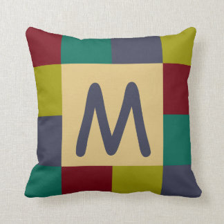 Granny Quilt Squares Monogram Throw Pillow