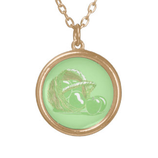 Granny Smith Apples in a Basket Necklace