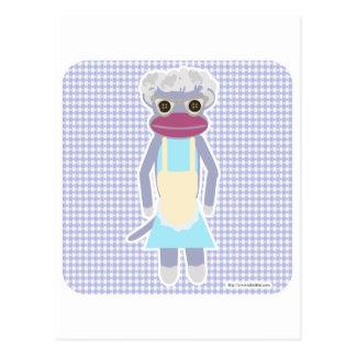 Granny Sock Monkey Postcard