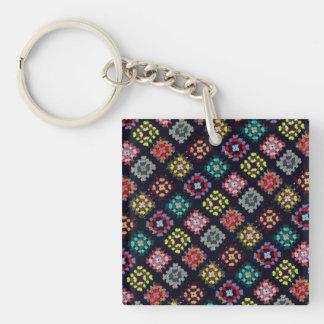 Granny squares keychain