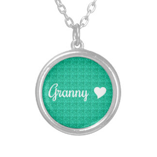 Granny With Heart Green White Custom Necklace