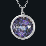 """Granny With Heart Silver Plated Necklace<br><div class=""""desc"""">This necklace for grandmother features an abstract art pattern in different shades of blue,  along with a touch of other colors for accent,  and the word,  &quot;Granny&quot; written in white script,  with a matching white heart beside it.</div>"""