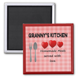 Granny's Kitchen Red Gingham Magnet