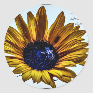 grannys-sunflower classic round sticker