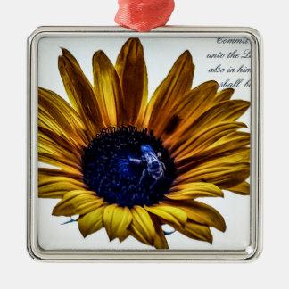 grannys-sunflower metal ornament