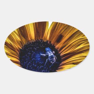 grannys-sunflower oval sticker