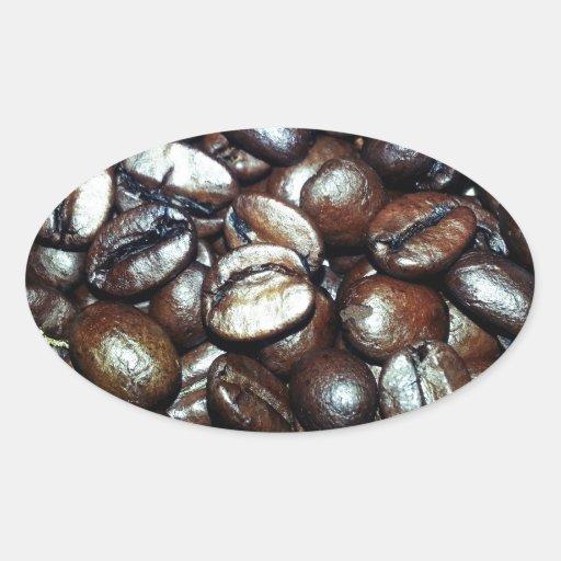 Grano de café pegatina ovalada