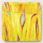 Grano de madera amarillo abstracto (pintura abstra posavasos de bebidas