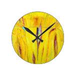 Grano de madera amarillo abstracto (pintura abstra reloj de pared