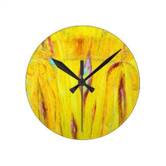 Grano de madera amarillo abstracto pintura abstra reloj de pared