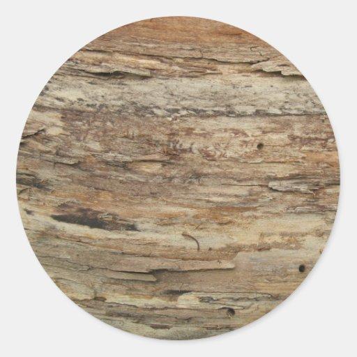 Grano de madera áspero pegatina redonda