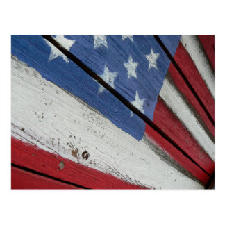 Grano de madera de bandera americana tarjetas postales