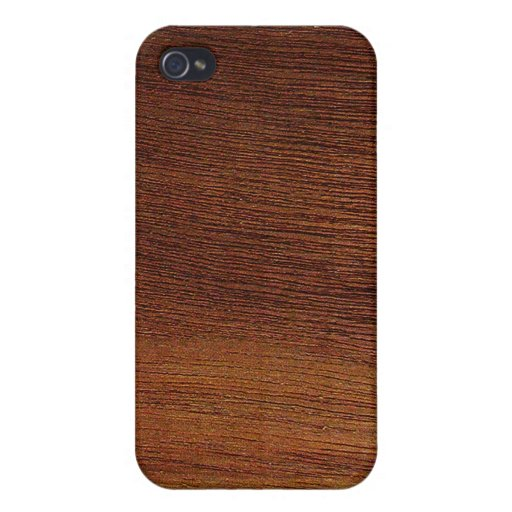 Grano de madera de caoba iPhone 4 fundas