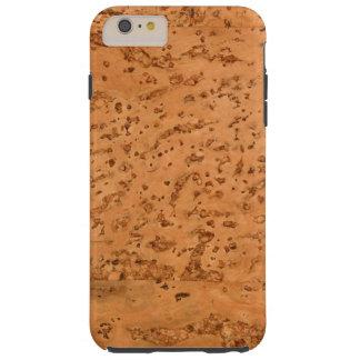 Grano de madera de la mirada del corcho natural funda para iPhone 6 plus tough
