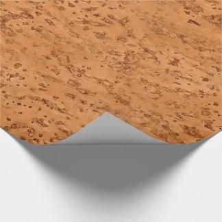 Grano de madera de la mirada del corcho natural papel de regalo