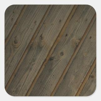 Grano de madera falso abstracto pegatina cuadrada