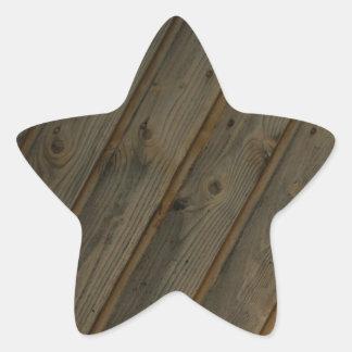 Grano de madera falso abstracto pegatina en forma de estrella