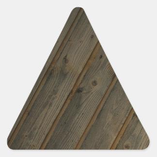 Grano de madera falso abstracto pegatina triangular