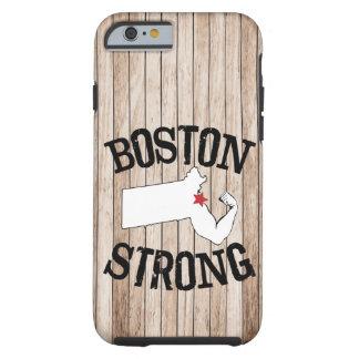 Grano de madera fuerte de Boston Funda De iPhone 6 Tough