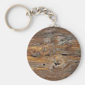 Grano de madera, hoja de la madera resistida llavero redondo tipo pin