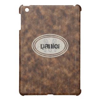 Grano de madera masculino del falso Grunge industr iPad Mini Fundas