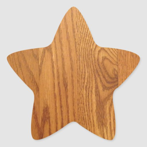 Grano de madera natural ligero pegatina en forma de estrella