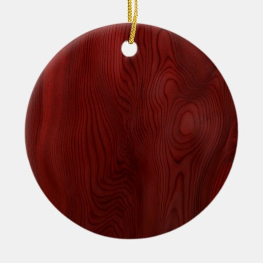 Grano de madera oscuro adorno navideño redondo de cerámica